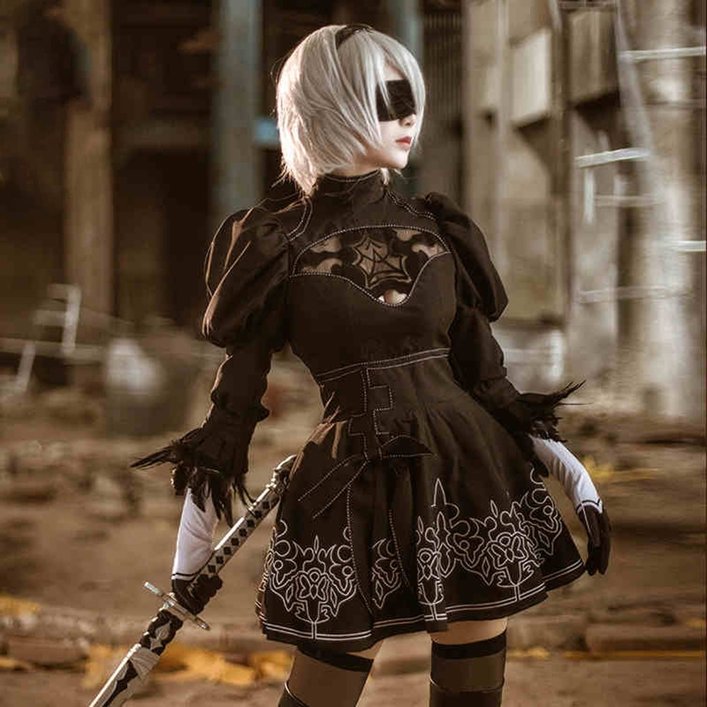 Nier Automata 2B Cosplay Anime Women Costume Set Outfit Yorha Disguise Dress Fancy Halloween Girls Party