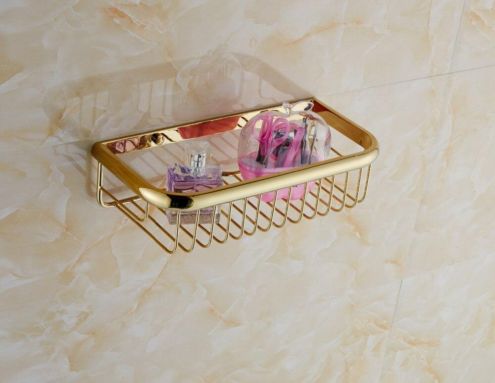 Gold Polished Bath Caddy Storage Holder Wall Mounted Shelf Basket-in ...