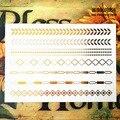 SHNAPIGN 24 стиль Временные татуировки боди-арт, цепи полосы золотой дизайн, флэш-стикер татуировки держать 3-5 дней Водонепроницаемый 21*15 см