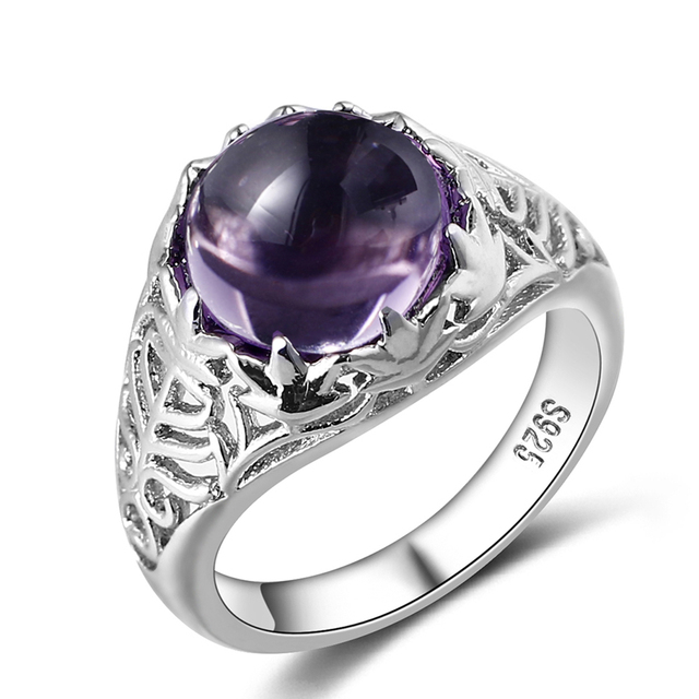 Bague Ringen Vintage 100% 925 Sterling Silver Round Natural Amethyst Wedding Engagement Rings For Women Fine Jewelry Size 6-10 1