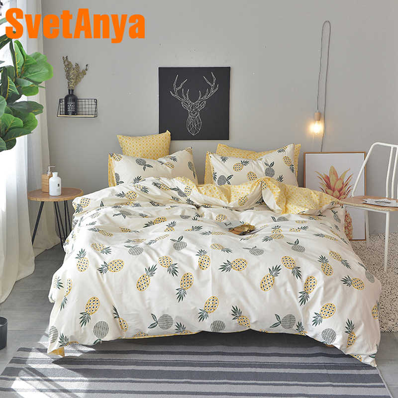 Svetanya Pineapple Bedsheet Pillowcase Duvet Cover Sets 100% Cotton Bedlinen Twin Double Queen King Size Bedding Set