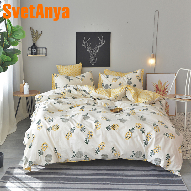 Svetanya Pineapple Bedsheet Pillowcase Duvet Cover Sets 100% Cotton Bedlinen Twin Double Queen King Size Bedding SetSvetanya Pineapple Bedsheet Pillowcase Duvet Cover Sets 100% Cotton Bedlinen Twin Double Queen King Size Bedding Set