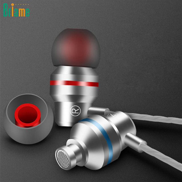 Briame Professional Metal Headphone In Ear Wired Earphone 3.5mm Heavy Bass Sound Quality Music Sport Headset For iPhone Xiaomi