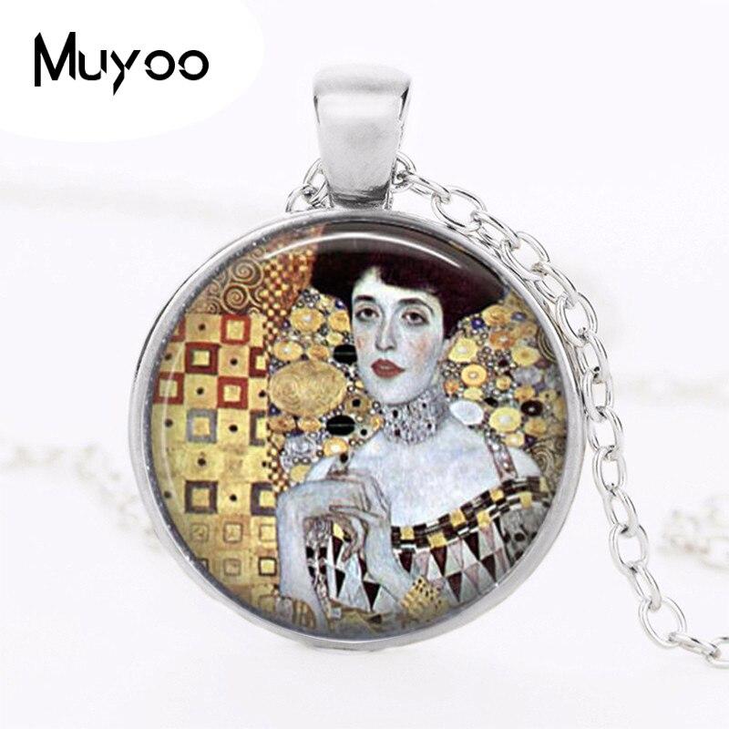Gustav Klimt 1907 Logo pendentif collier Adele-Art artisanal Vintage collier Art Nouveau bijoux modernes HZ1