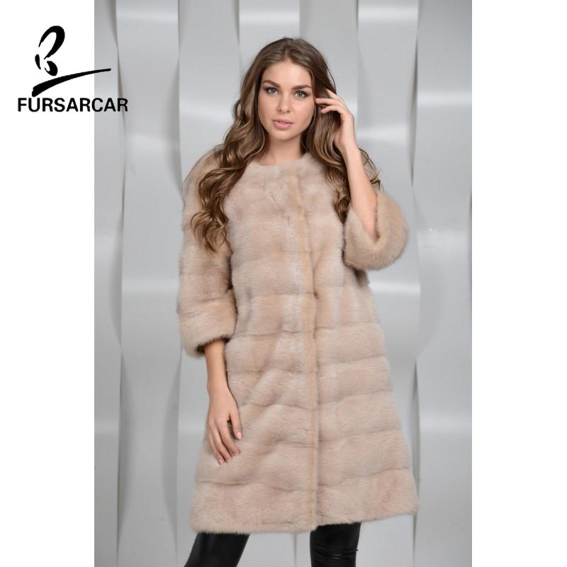 FURSARCAR Warm Overcoat Wide Waist Women Fashion Real Mink Fur Coats Mandarin Collar Thick Winter Outerwear Clothing For Female