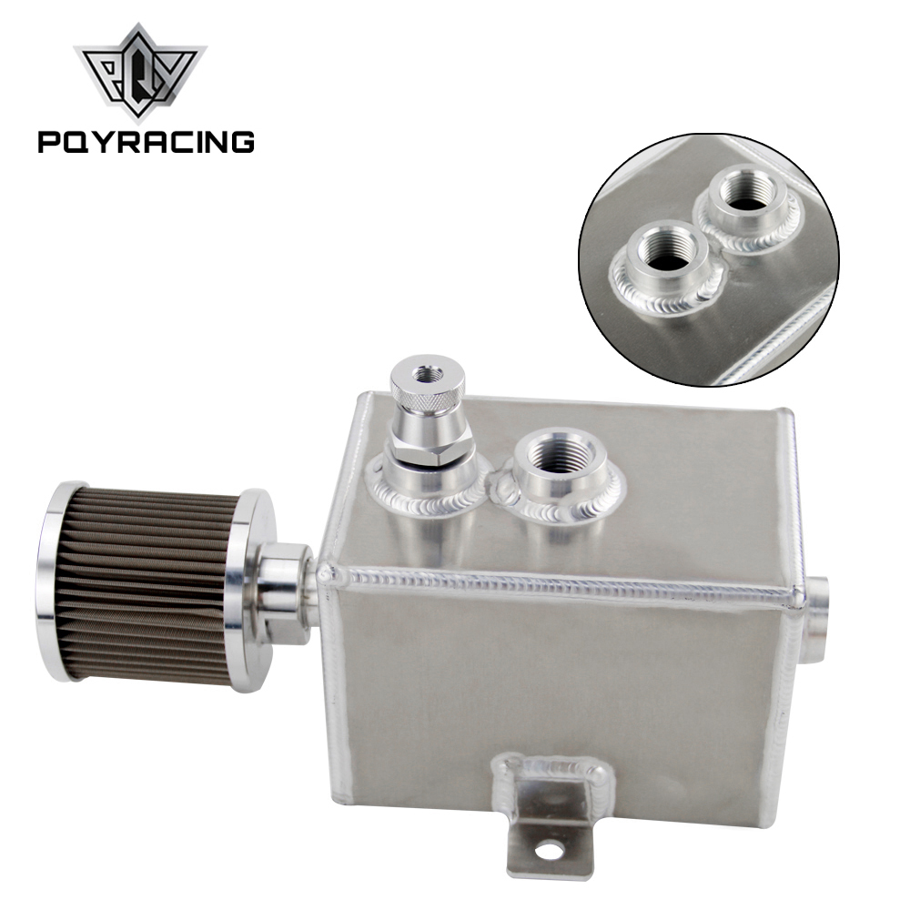 Universal 2L Aluminum oil catch can with breather & drain tap 2LT baffled Square Fuel Tank Oil Can Oil Tank PQY9492