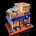 Best Children Gift DIY Wooden Doll House 3D Handmade Miniature+Music box+Voice-activated light Handmade kits Building model