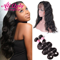 7A Peruvian Virgin Hair Body Wave With Closure 360 Lace Frontal With Bundle Alionly Hair Pre Plucked 360 Frontal With Bundles
