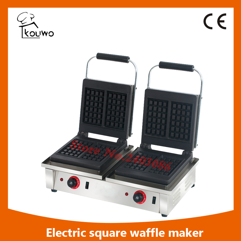 commercial kitchen equipment non-stick teflon double square plate automatic electric waffle maker for sale double commercial electric rectangle cone maker and butterfly waffle maker for sale