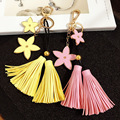 Luxury female Leather Tassel keychain Metal flowers Key chain Tassel Key ring Car&bag Key Chain charm porte clef For Women CH001