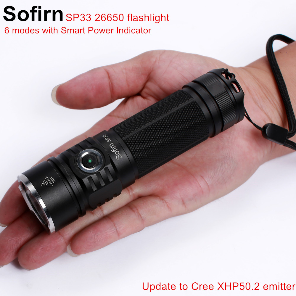 Sofirn SP33 LED Flashlight 18650 Cree XPL High Power Lamp Torch Light Powerful Flashlight 26650 Waterproof Lantern camping cycle Стикер