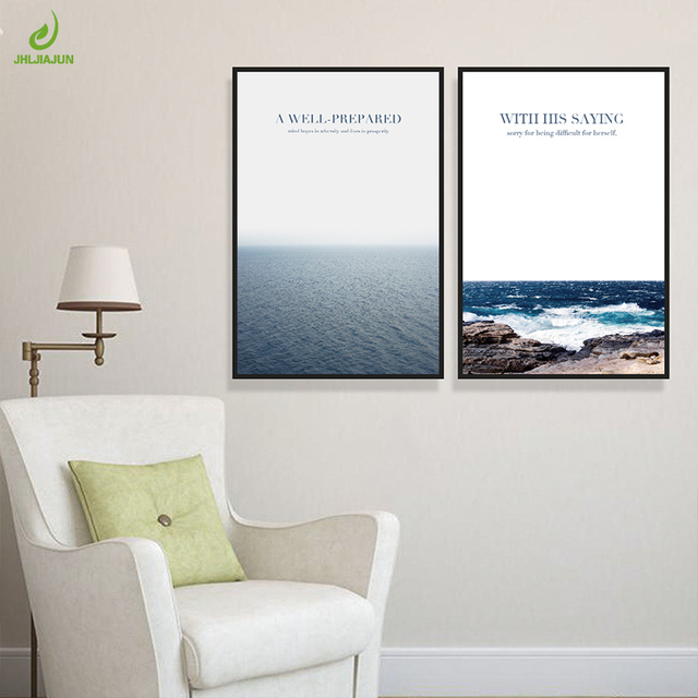 Jhljiajun sea reef landscape nordic canvas painting wall art posters prints pictures for kids living room