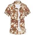 M-5XL 6XL mens shirts moda 2016 mens camisa hawaiana con la flor famosa marca camisas de los hombres 2016 algodón G0107
