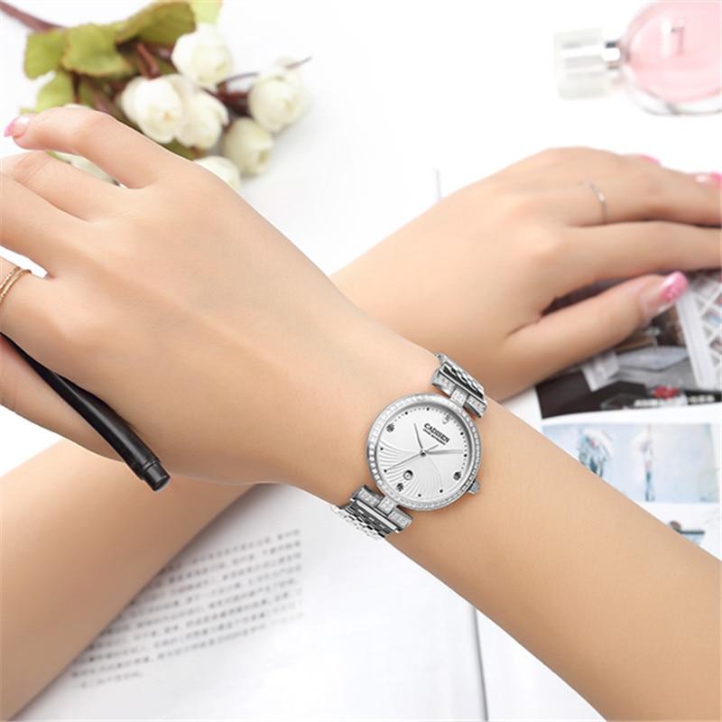 CADISEN marque de luxe de mode montre à Quartz femmes montre-Bracelet dames en acier inoxydable Bracelet horloge décontractée femmes robe montres