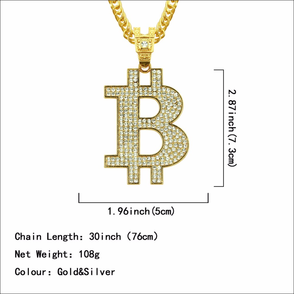 Bitcoin Gold and Bling Necklace 2