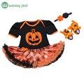 Ropa de bebé Vestido de Fiesta de disfraces de halloween para el Niño del bebé Tutús recién nacido mono mameluco del bebé de la ropa del desgaste + diadema