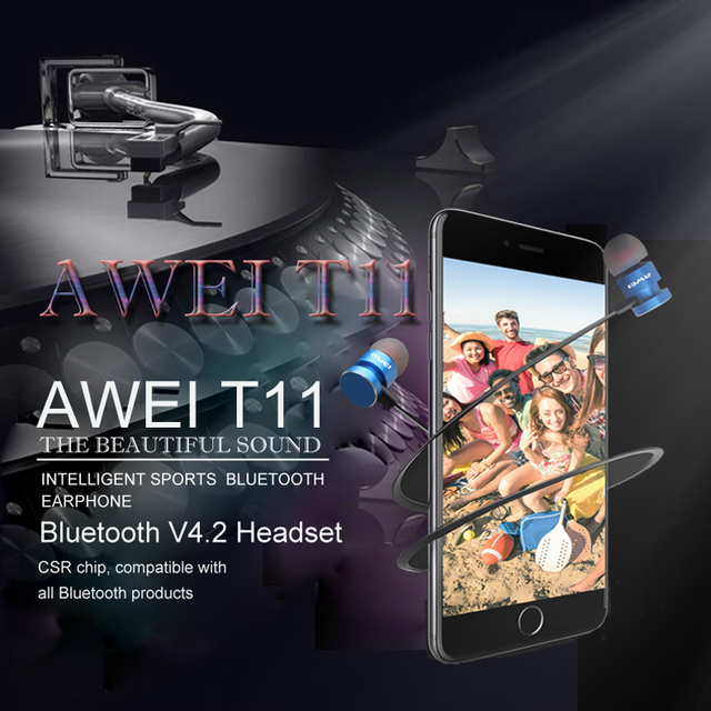 Newest AWEI T11 Wireless Headphone Bluetooth Earphone Headphone For Phone Neckband sport earphone Auriculare CSR Bluetooth V4.2 1