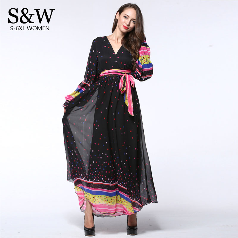 US $31.08 15% OFF|6XL 7XL Plus Size Women Long Sleeve Dress Summer 2016  Long Dot Black Chiffon Dress Patchwork Chiffon Maxi Dresses-in Dresses from  ...
