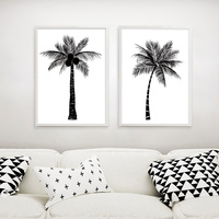 Black White Tropical Plant Coconut Tree Poster Canvas Prints Minimalist Wall Art Painting Wall Picture Living Room Decoration