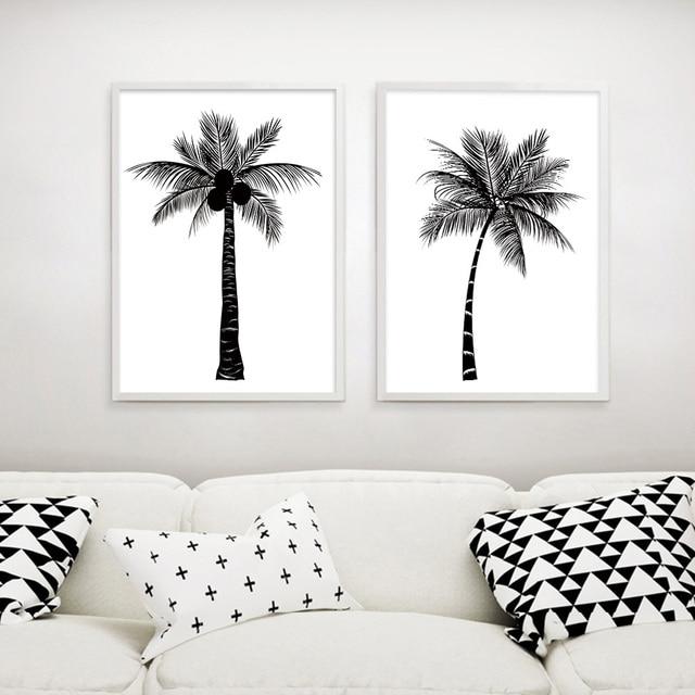 Black White Tropical Plant Coconut Tree Poster Canvas Prints