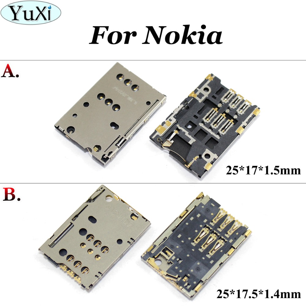 YuXi 2pcslot SIM card Socket Reader Holder Slot Replacement for Nokia N8 C7 C7-00 T7 C2-03 2060 C2-06