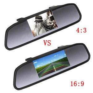 Image 3 - Hikity Car Auto 4.3 TFT lusterko do parkowania samochodu Monitor 2 wejście wideo do kamery cofania wodoodporny System wspomagania parkowania
