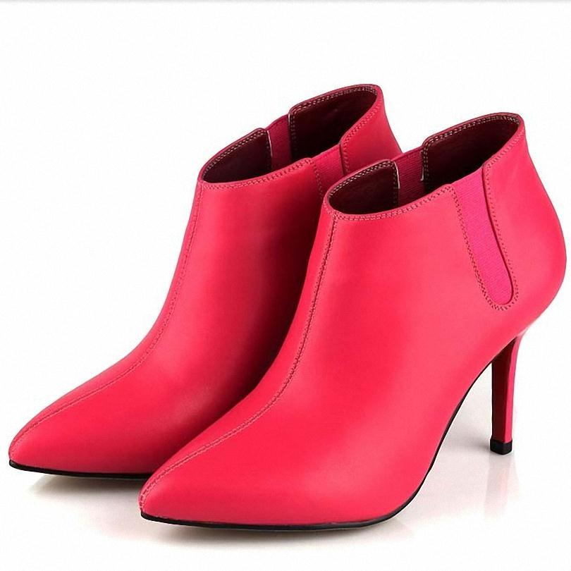 ФОТО New Autumn Women's Genuine Leather Ankle Boots High Heels Style Shoes Woman Pointed Toe Fashion Motorcycle Short Boots