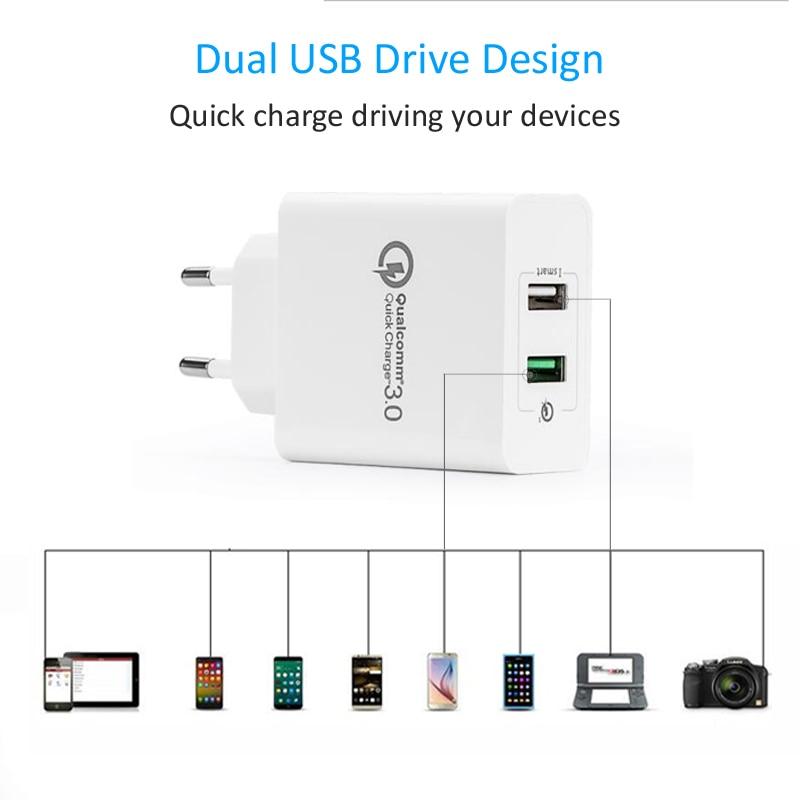 STOD Dubbel USB-laddare 30W Quick Charge 3.0 2.4A-port för IPhone - Reservdelar och tillbehör för mobiltelefoner - Foto 5