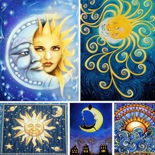 Diamond Painting Sun Moon Full Square 5d Diy Diamant Cartoon Child Embroidery Abstract Art Home Decor Gift Y21
