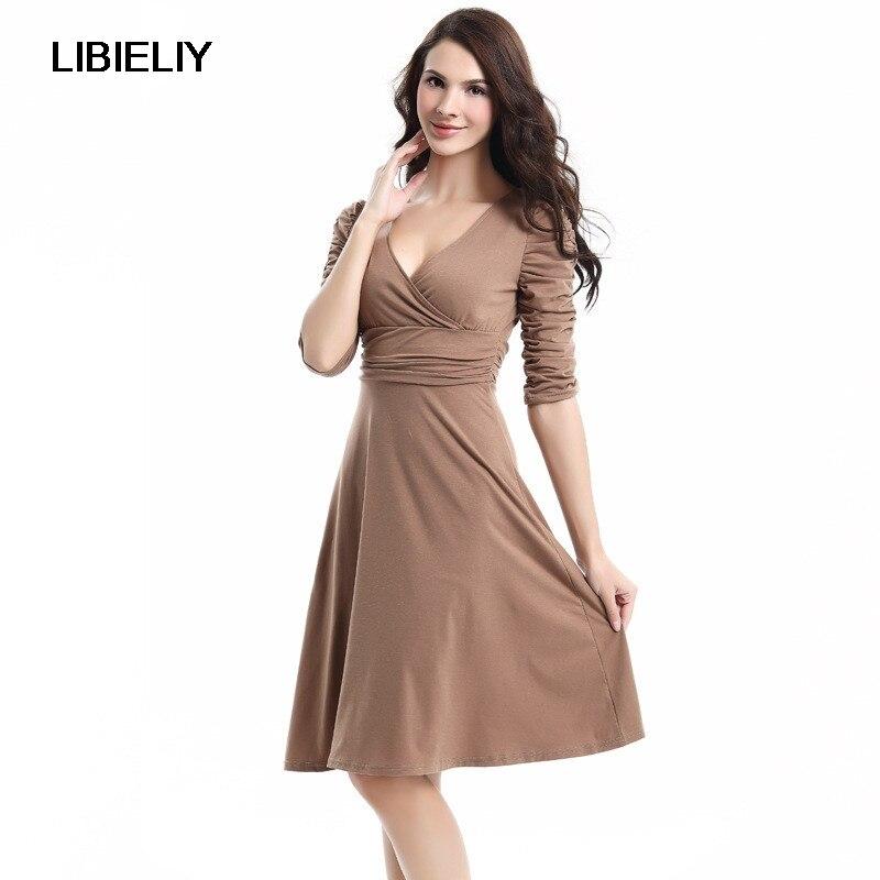 Robe européenne et américaine mode nouvelle femme travail grande balançoire profonde col en v robe de bureau 15 couleurs femme Sexy robe de soirée TT555