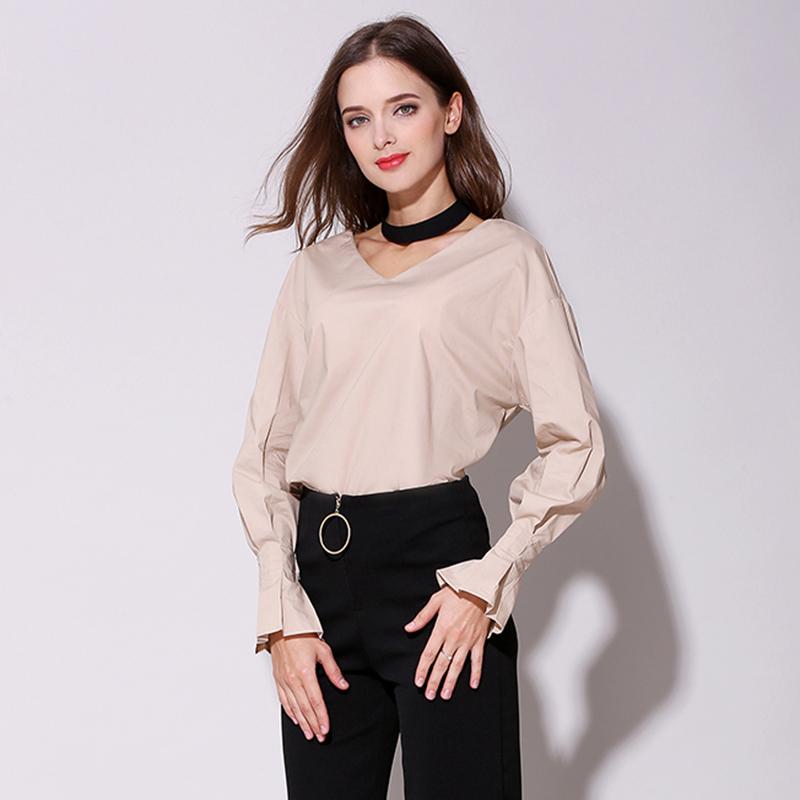 Spring New Loose Sexy V-neck with Black Solid Color Shirts Women Office Lady Formal Elegant Women's Blouses Flare Sleeve Top