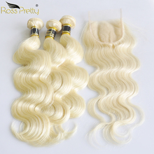Ross Pretty Remy 613 Indian Human Hair Bundles With Lace Closure Pre plucked Body Wave Closure With Hair bundle Color Blonde 613 body wave human hair bundle with closure blonde indian hair weave bundles with lace closure colored remy hair with closure