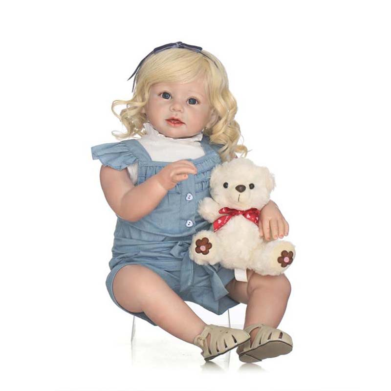 Lifelike 70cm Silicone Princess Dolls Alive 28 Reborn Girls Doll Handmade Curly Hair Toddler Baby Dolls
