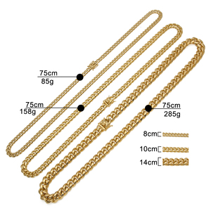 Image 2 - 8mm/10mm/12mm/14mm Stainless Steel Curb Cuban Link Chain Punk Heavy Gold silver color  Plated Cuban Necklace For Men 30inch
