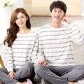 Conjuntos de Pijamas de algodón para mujer Hombre Amantes de manga larga ropa de Noche de Nueva Otoño Invierno Rayas ocio chándal ropa de mujer 076