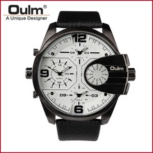 Oulm Replicate Dial Quartz Hours Men Bussiness Sport Wrist Watch Three Time Zone