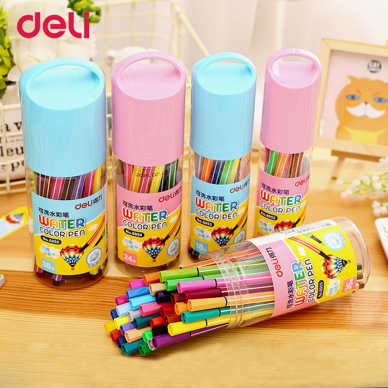 Deli 12/18/24/36 water colored artist marker pens set for school drawing supplies office stationery Water Based Ink gift markers sta 12 24 colors brush pen set water based ink twin tip watercolor markers pen drawing for manga school art supplies rotulador