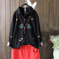 Vintage Flowers Embroidered Cotton Shirt Lapel Long Sleeve Women S Spring Autumn Casual Ethnic Blouses Camisas