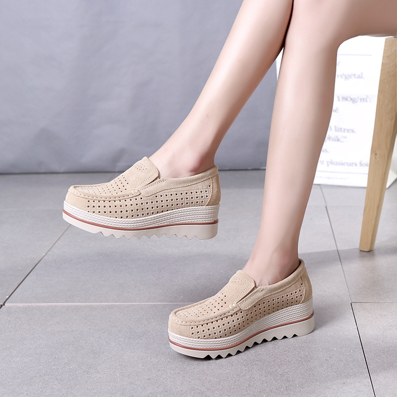 Slip Pisos Mujer Verano Mocasines Blue black on pink Zapatos Casual Femme Suede apricot grey Chaussures Leather Plataforma Marca Mujeres fYq8HKqR