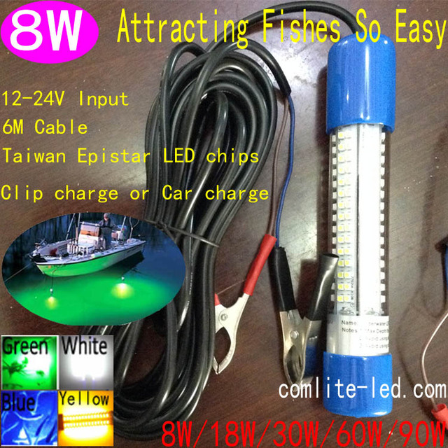 6M Length Cable 8W Deep Drop Underwater 50M Night Fishing Boat Lights 12V LED Green Fishing Lights