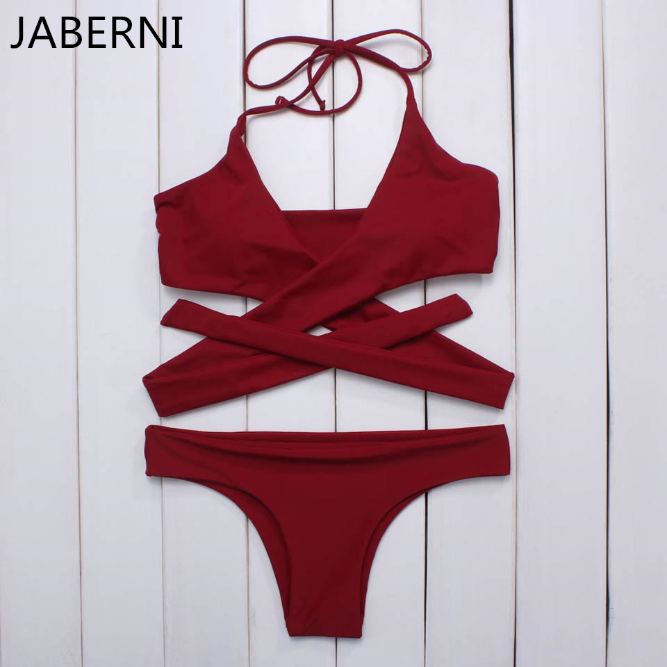 ФОТО JABERNI women bikini brand swimsuit solid swimwear hlater top bathing suit sexy bikini brazilian swimsuit thong bottom RS023