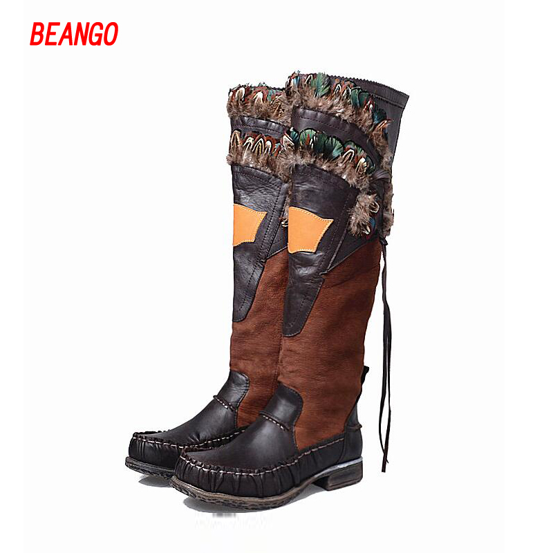 BEANGO 2017 Fowl Feathers Handsome Knight Boots Genuine Leather Mixed Colors Winter Thigh High Boots Square Heel Knee High Boots