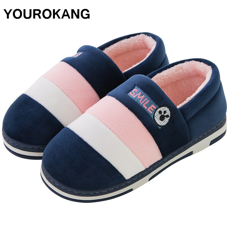 YOUROKANG Men's Shoes Winter Warm Home Slippers Male Flock Indoor Plush Slippers Bedroom Couple House Shoes Furry Unisex Lovers цена 2017