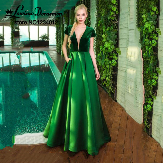 7e0bd9d3a Verde Vestido de Noche Largo 2017 Más El Tamaño De Boda Profundo V cuello  de Satén