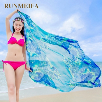 Womens Chiffon Wrap Pareo Sarong Dress Bikini Scarf Beach Bikini Swimwear Cover Up Scarf 1