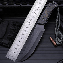 Hot sale outdoor camping with small straight cutting tool self-defense wilderness survival hunting knife high hardness annatto 2016 survival manual forging equipment straight knife self defense camping hunting knife high hardness tool collection