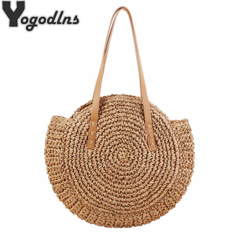 Handmade Woven Bulat untuk Wanita Tas Bahu Bohemian Jerami Musim Panas Pantai Tas untuk Perjalanan Belanja Wanita Tote Rotan Anyaman Tas