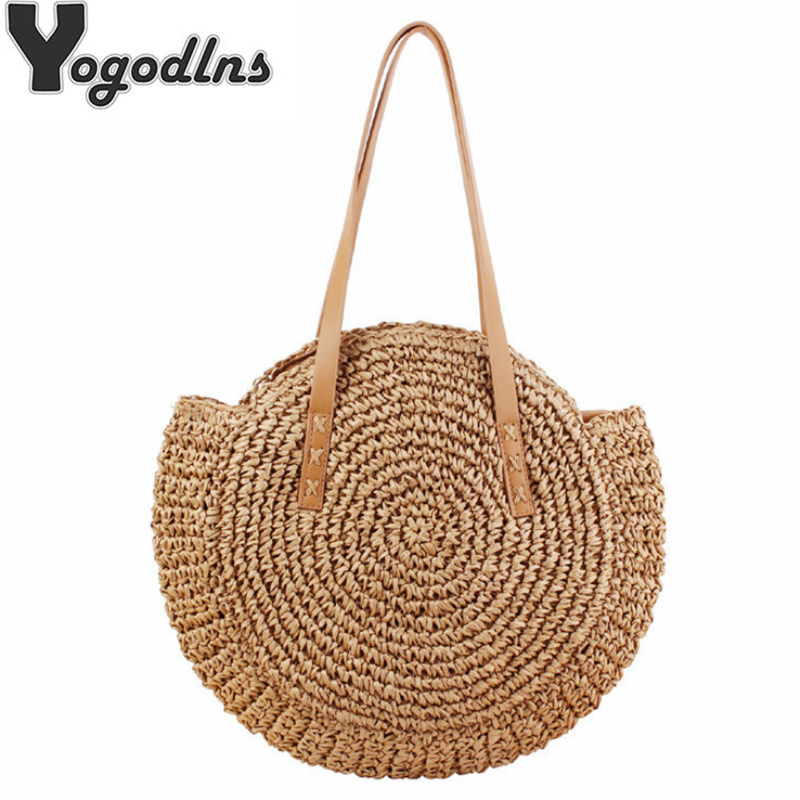Handmade Woven Round Women Shoulder Bag Bohemian Summer Straw Beach Handbag For Travel Shopping Female Tote Rattan Wicker Bags
