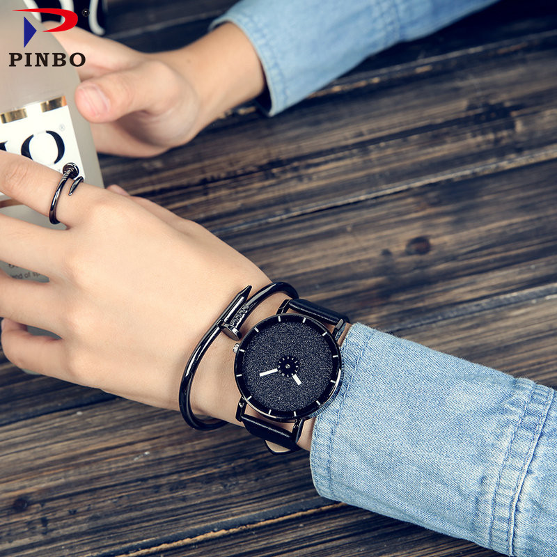 2017 PINBO HOT fashion Starry sky women watches luxury quartz leather strap colock watch A9 Ladies wristwatches reloj mujer