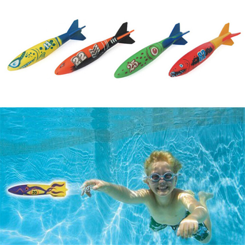 4pcs Outdoor Swimming Pool Throw Deliver Launch Glide Torpedoes Summer Play Water Dive Toys Shark Shape Underwater Solid Rocket